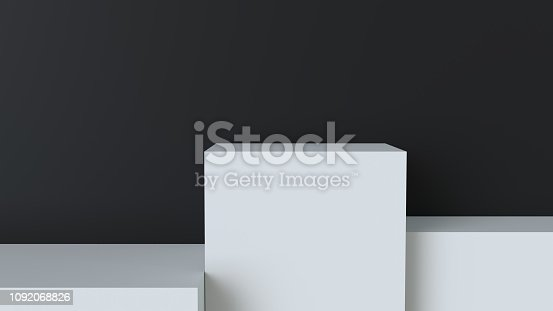 697820188 istock photo White cube podium on blank wall background. 3D rendering. 1092068826