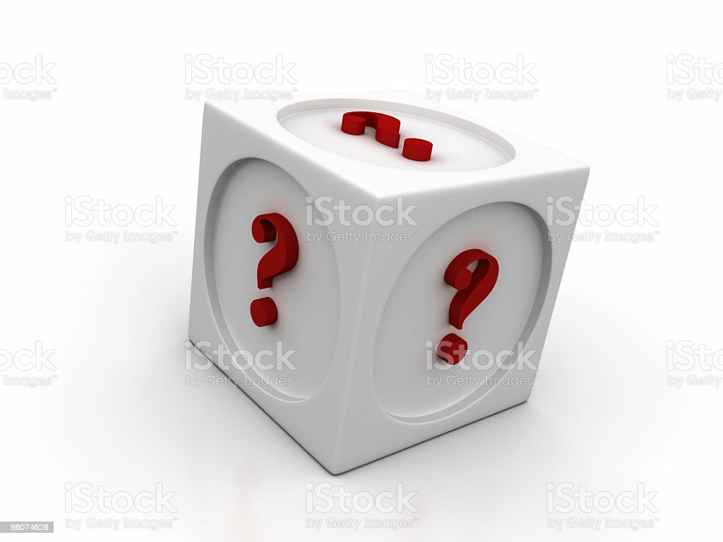 White Cube with Question Mark royalty-free stock photo