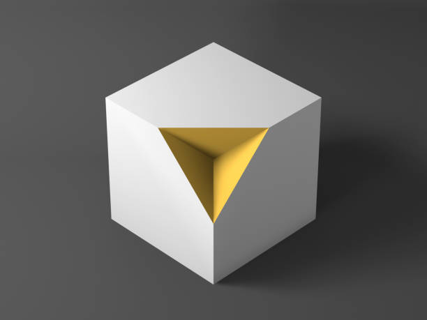 White cube with yellow pyramid shaped section. 3d stock photo