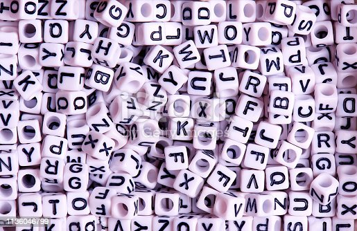 istock White cubes with black English letters close-up. 1136046799