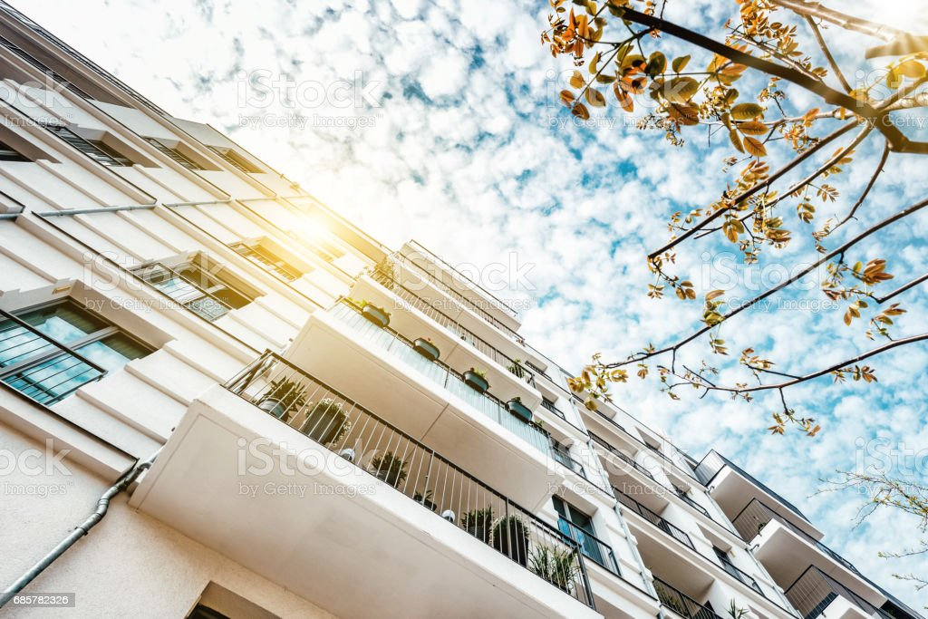 white cubic residential architecture in berlin royalty-free stock photo