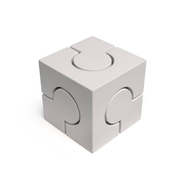Branca cúbica quebra renderização 3d ícone isolado ilustração em fundo branco - foto de acervo