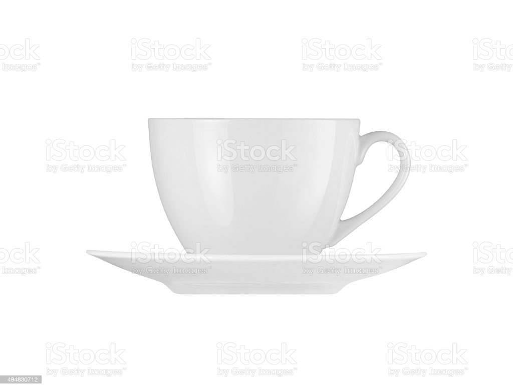 White cup and saucer isolated on white background stock photo