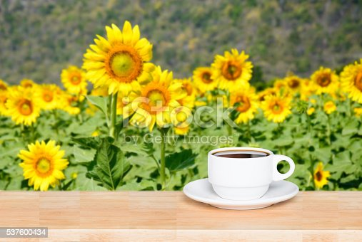 istock white cup coffee on wood desk and sunflowers background 537600434