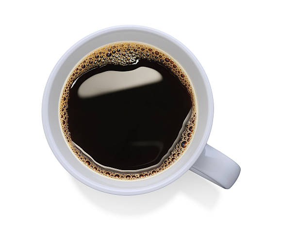 white cup filled with black coffee - on top of stock photos and pictures