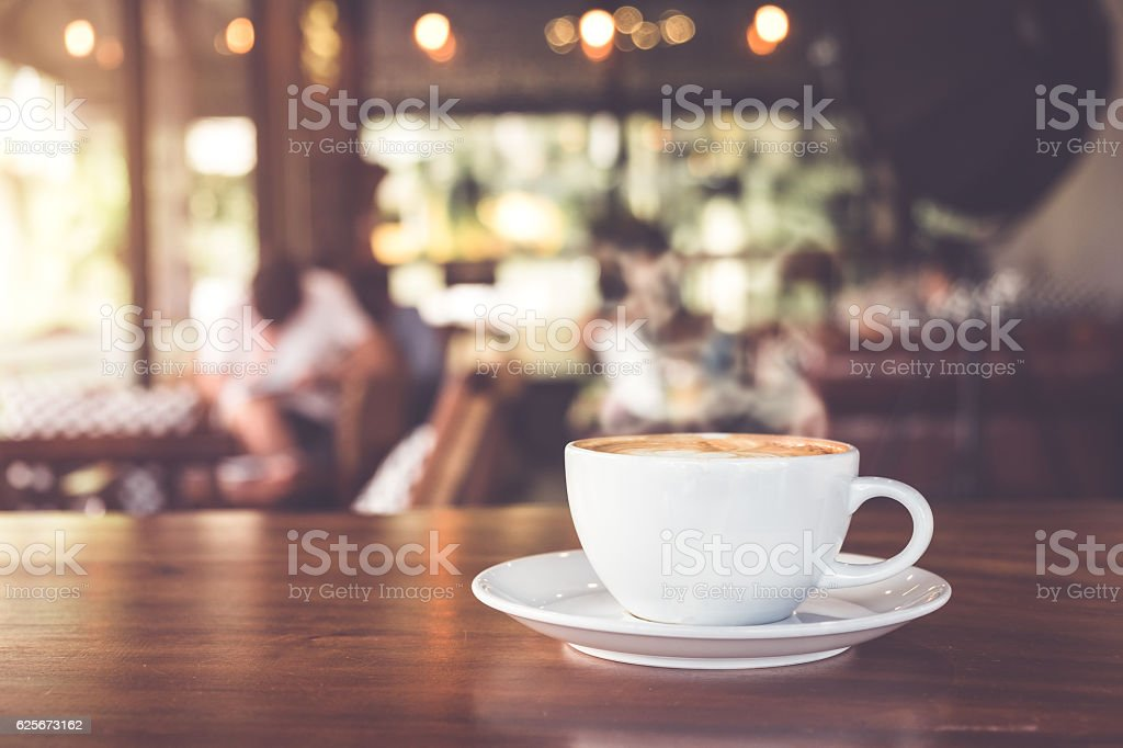 white cup hot coffee stock photo