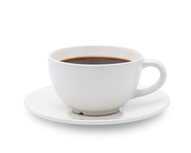White cup of black coffee isolated White cup of black coffee isolated on white background with clipping path coffee cup stock pictures, royalty-free photos & images