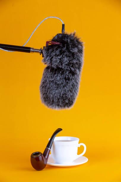 taza blanca de café y micrófono - gerardo huitrón fotografías e imágenes de stock