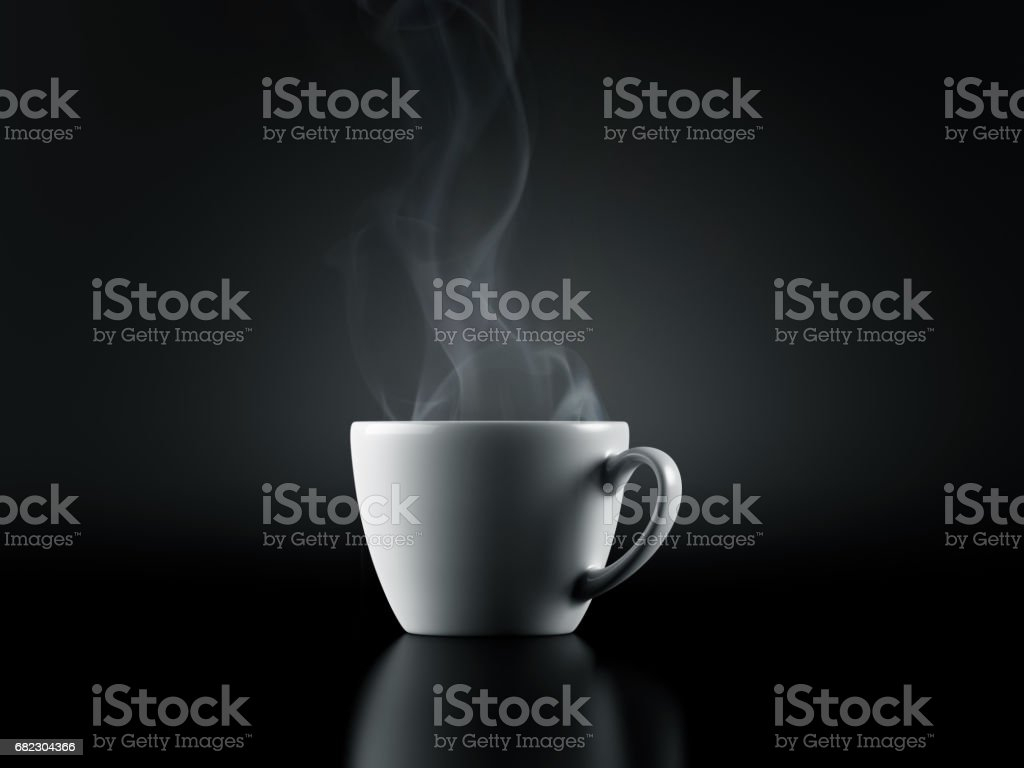 White Cup of Coffee isolated on Black Background stock photo