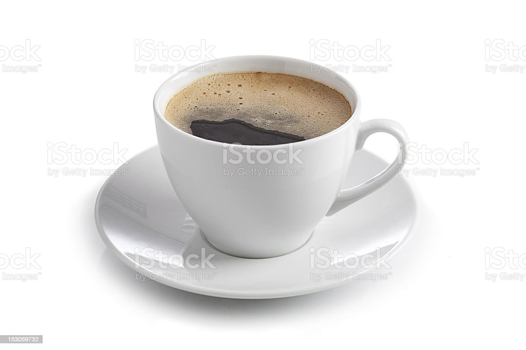 White cup of coffee on a saucer stock photo
