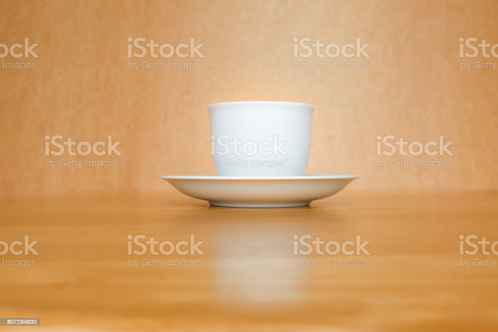 A white cup of coffee stock photo