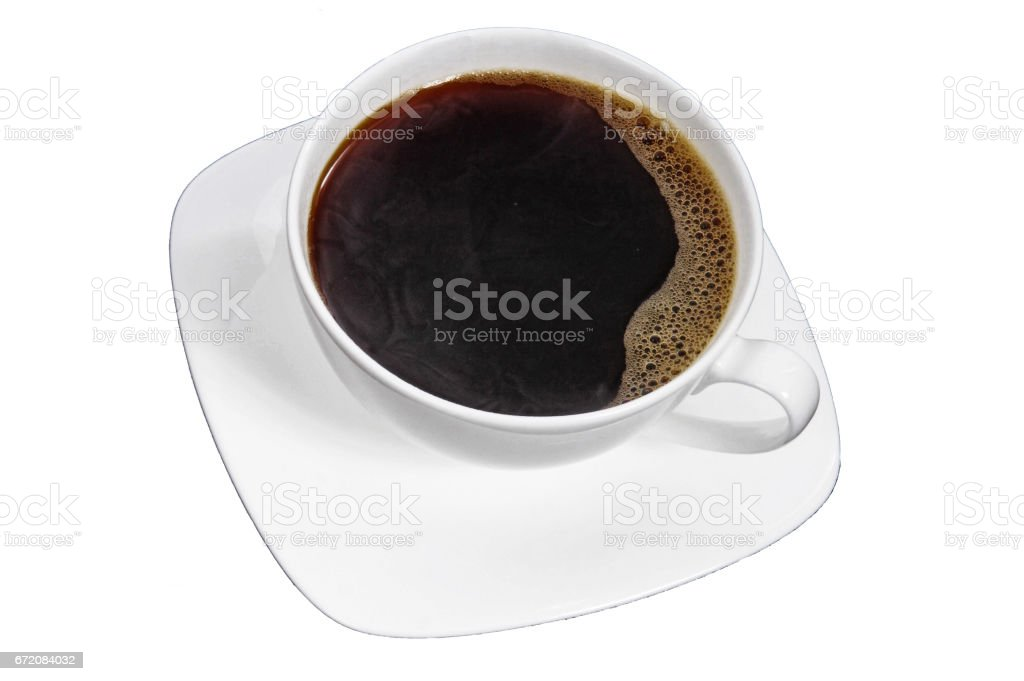White cup of coffee / tea with saucer isolated on White background. stock photo