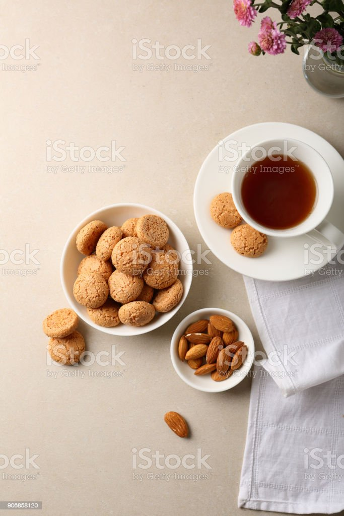 White cup of tea flat lay, beverage stock photo