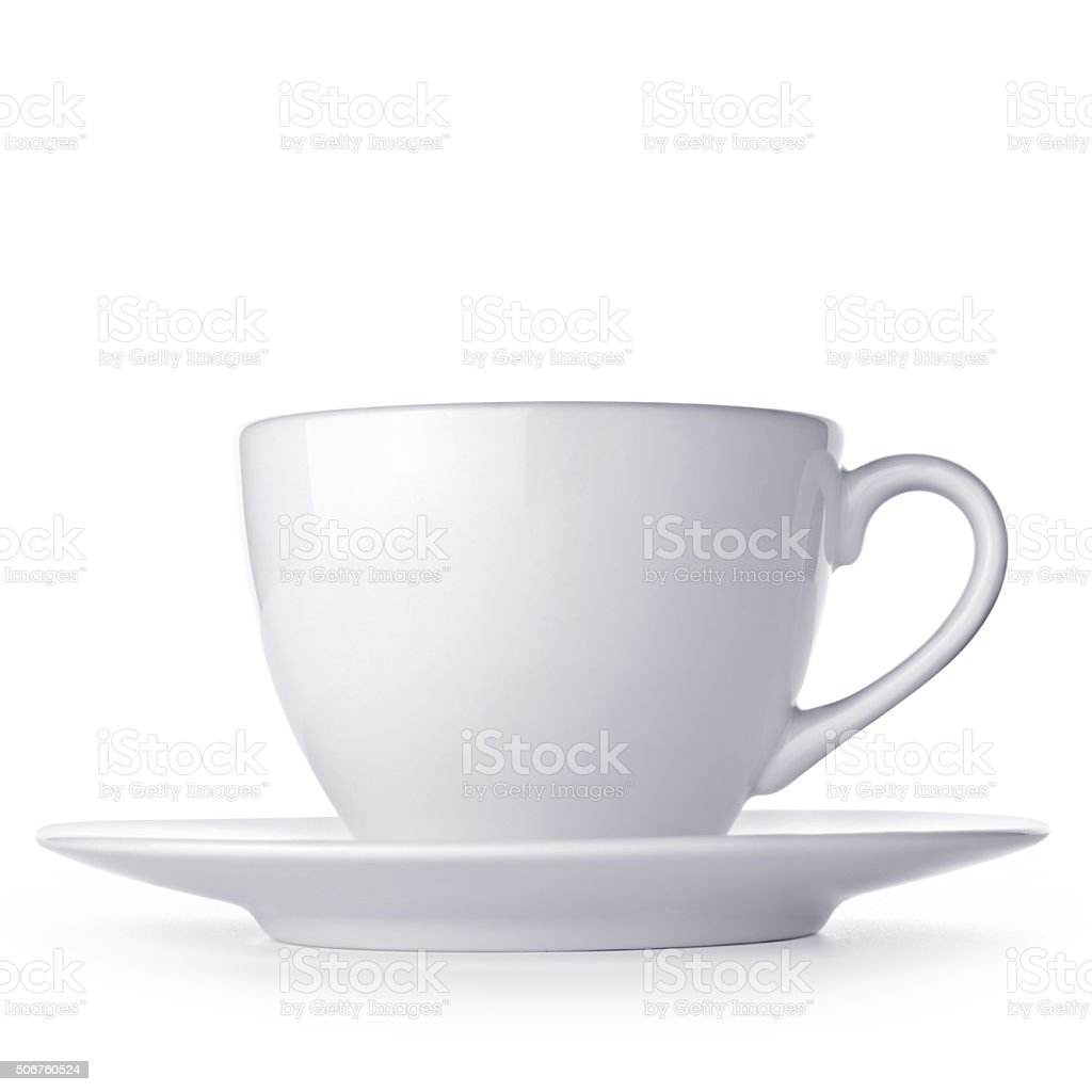 White cup with seucer isolated on white background stock photo