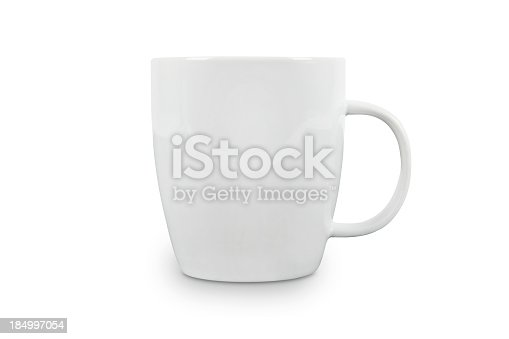 High resolution studio shot of a white coffee cup. Blank space for label/logo. Contains CLIPPING PATHS for easy editing.