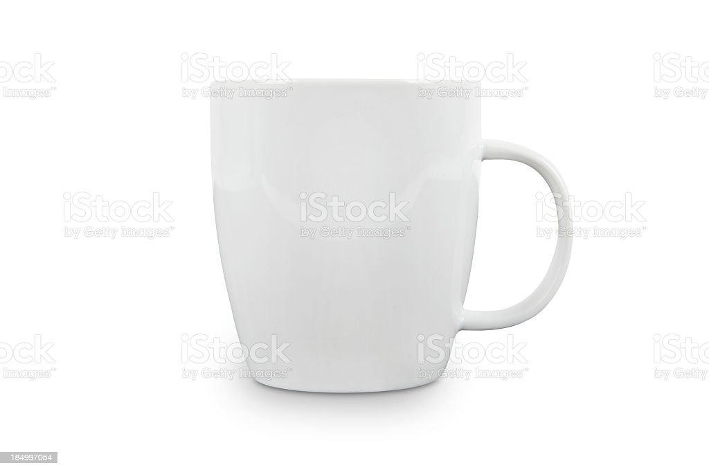White Cup with space for logo - contains clipping paths. stock photo
