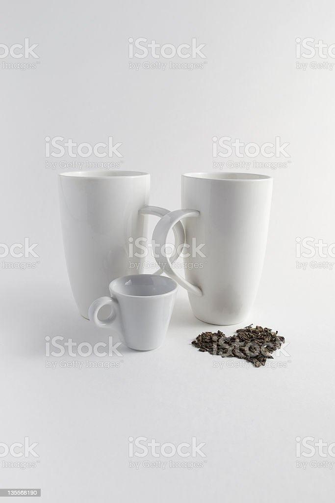 White cups accompanied with love symbol stock photo
