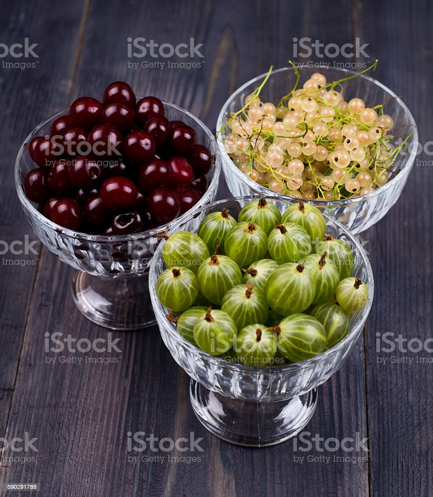 White currant, green gooseberry, cherry, in a bowl royaltyfri bildbanksbilder