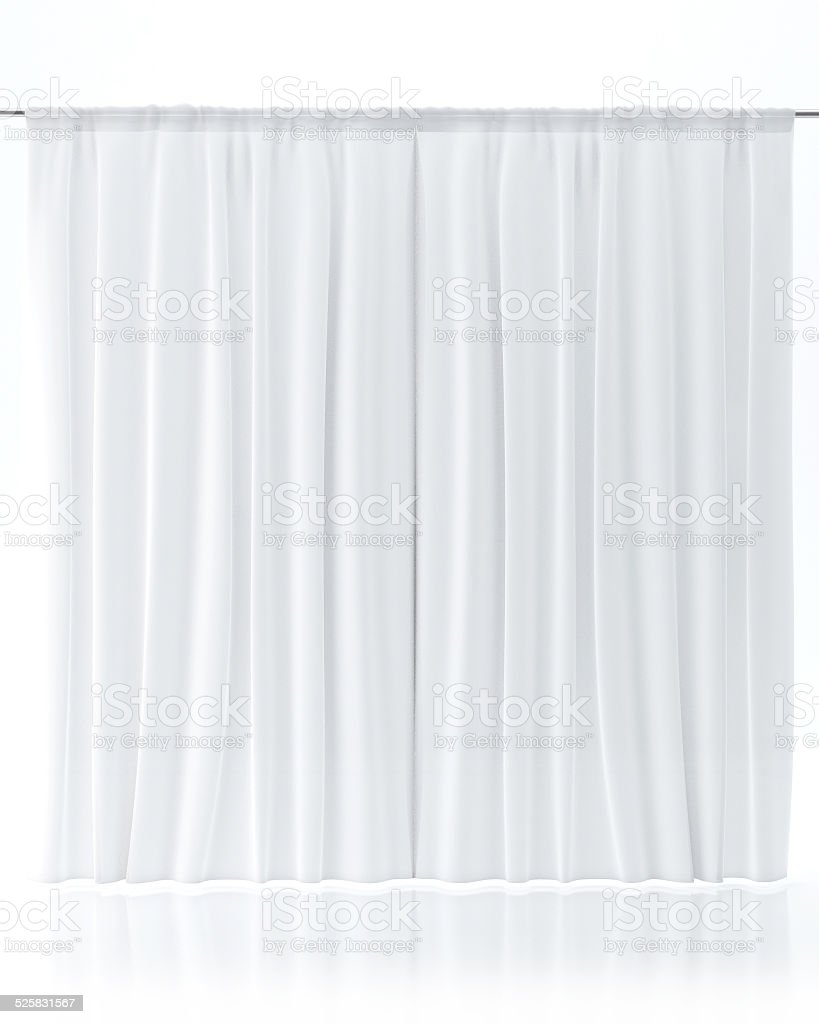White Curtain Isolated On White stock photo