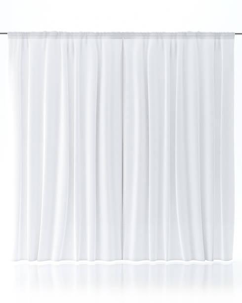 weißen vorhang, isoliert auf weiss - gardinen weiß stock-fotos und bilder