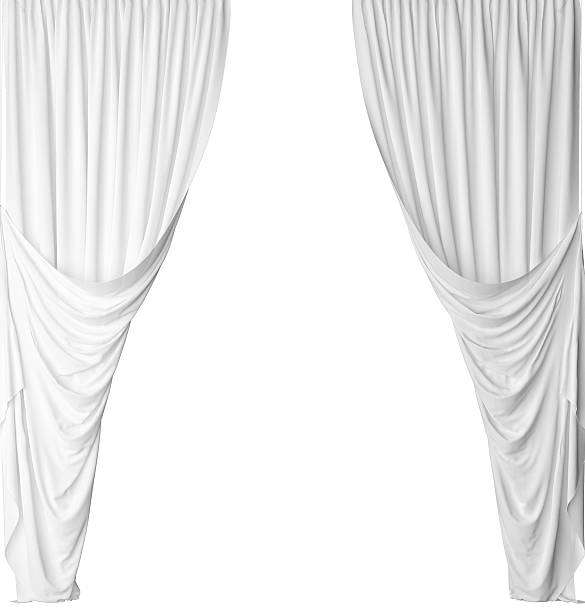 white curtain on a white background - gardinen weiß stock-fotos und bilder