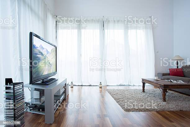 White Curtains In Living Room Stock Photo Download Image Now Istock