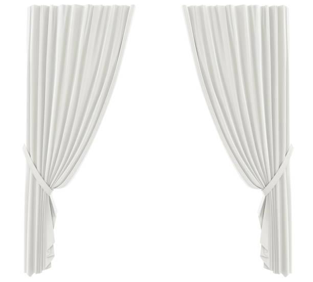 weiße vorhänge, isoliert - gardinen weiß stock-fotos und bilder