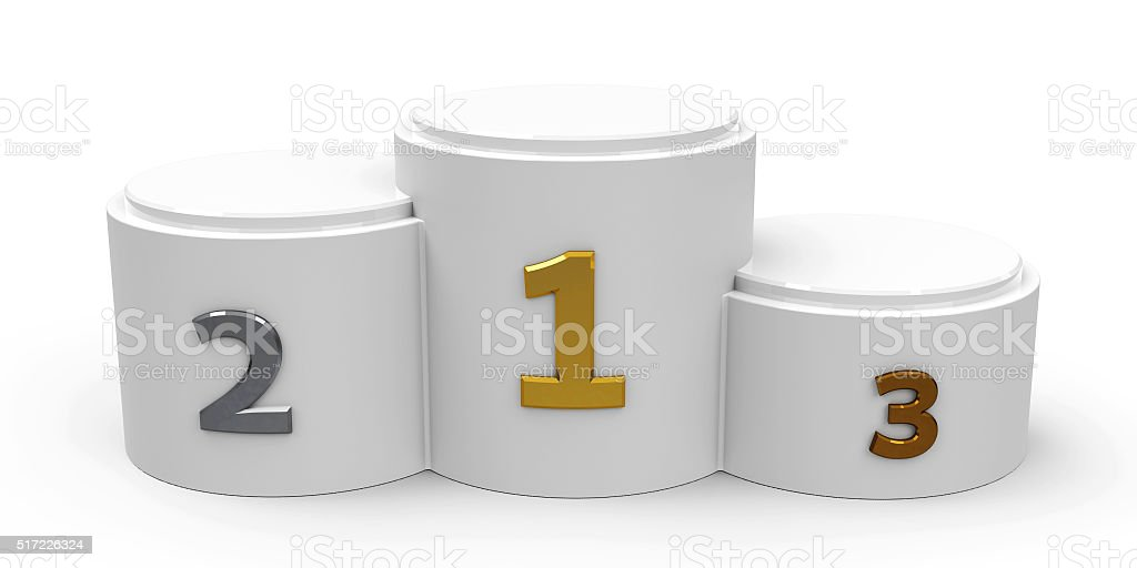 White cylinder podium stock photo