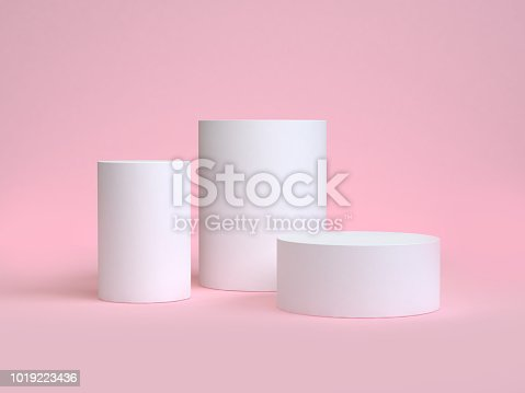 istock white cylinder shape minimal pink scene 3d rendering 1019223436