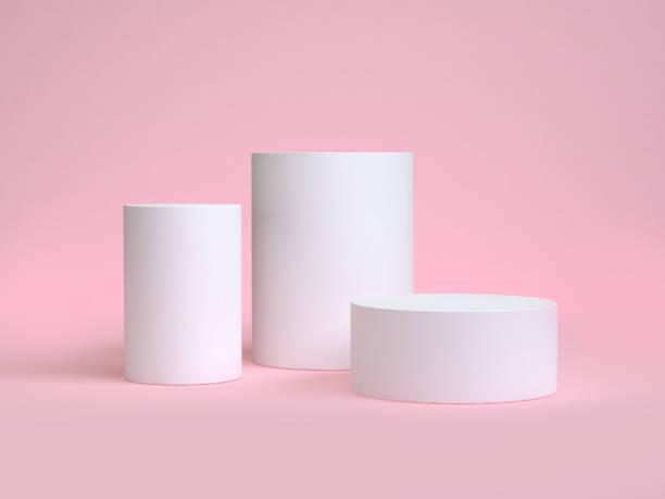 화이트 최소 실린더 모양 분홍색 장면 3d 렌더링 - 원기둥 뉴스 사진 이미지