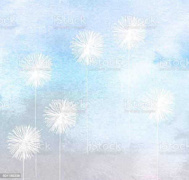 White dandelions painted on blue watercolour background picture id504186338?b=1&k=6&m=504186338&s=612x612&h=yz87zu3ex550r41bed51wxaulybfbegkqak3aspnwxa=