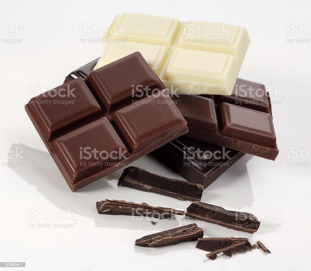 White, dark and milk chocolate bars  royalty-free stock photo
