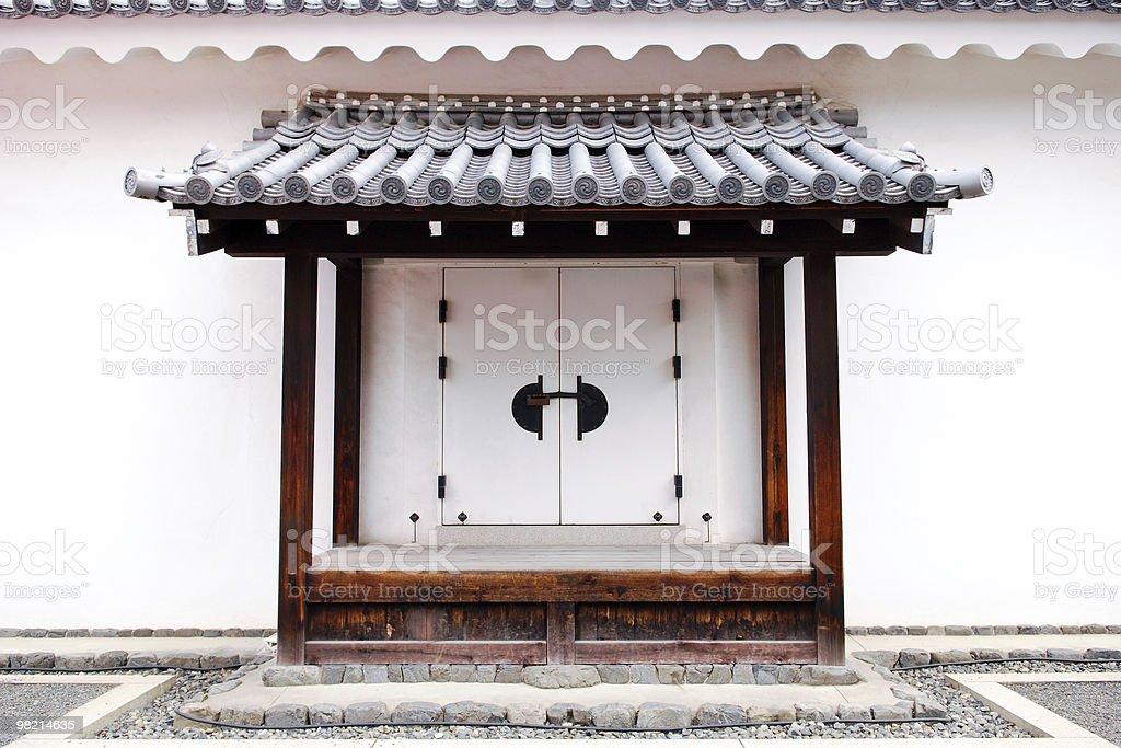 White decorative Japanese door royalty-free stock photo