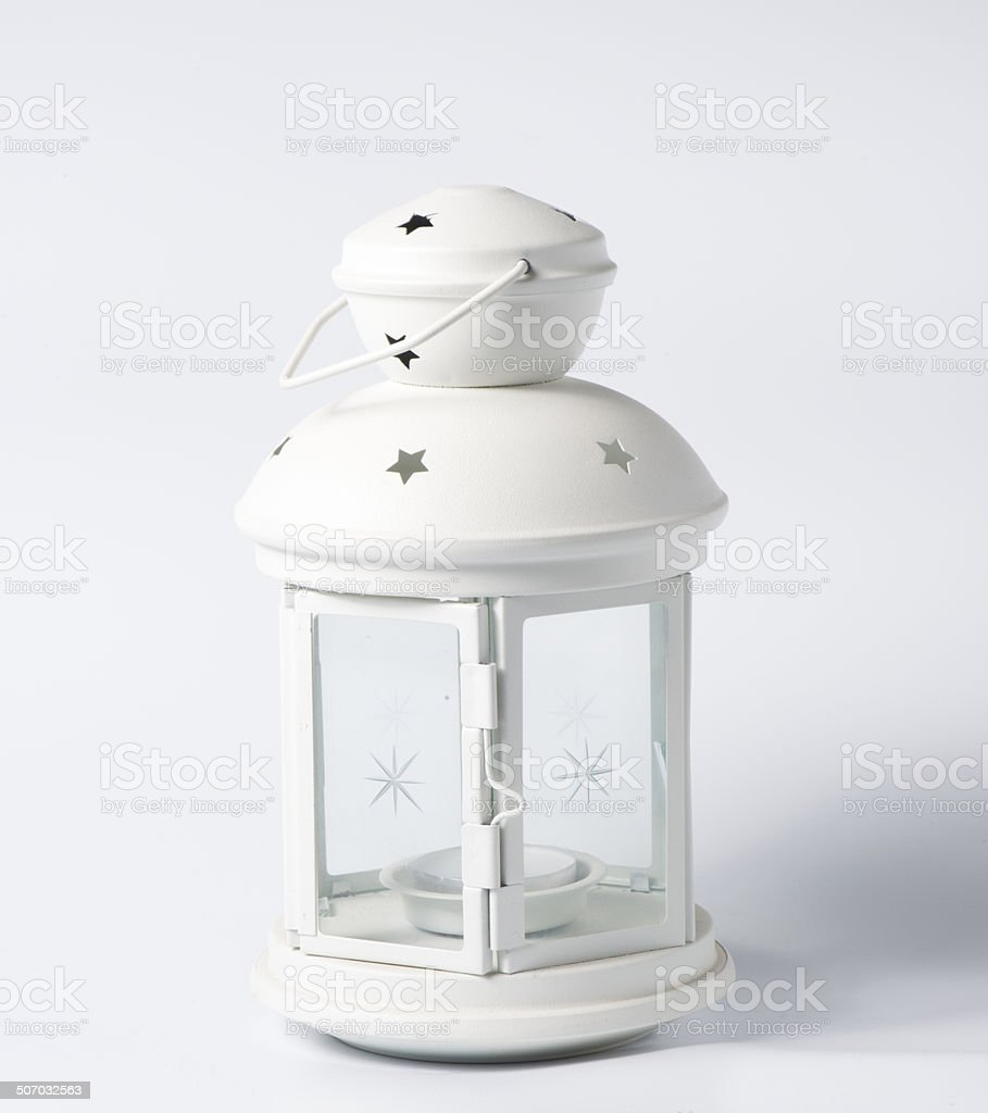 White decorative lantern in the old style stock photo
