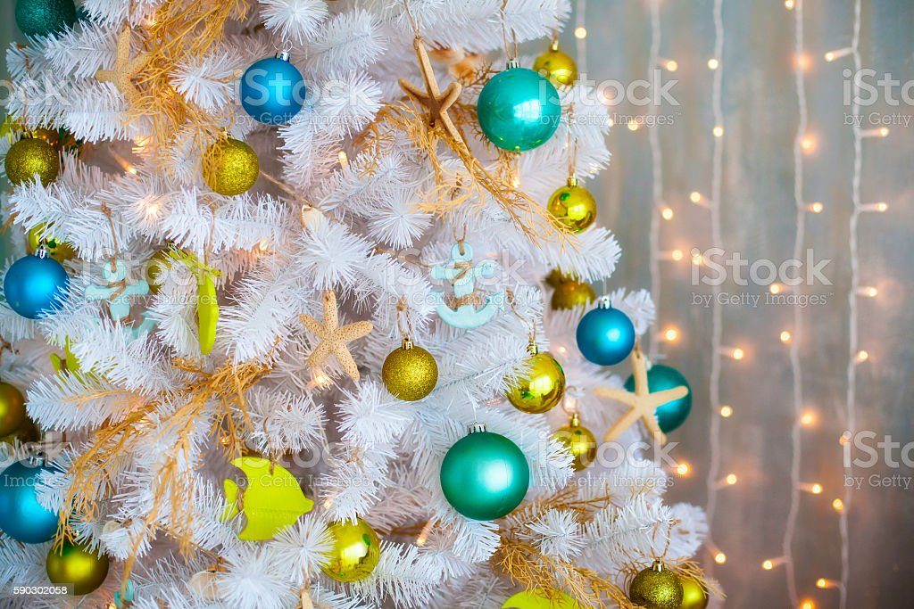 White decorative xmas tree with colourful balls, christmas concept royaltyfri bildbanksbilder