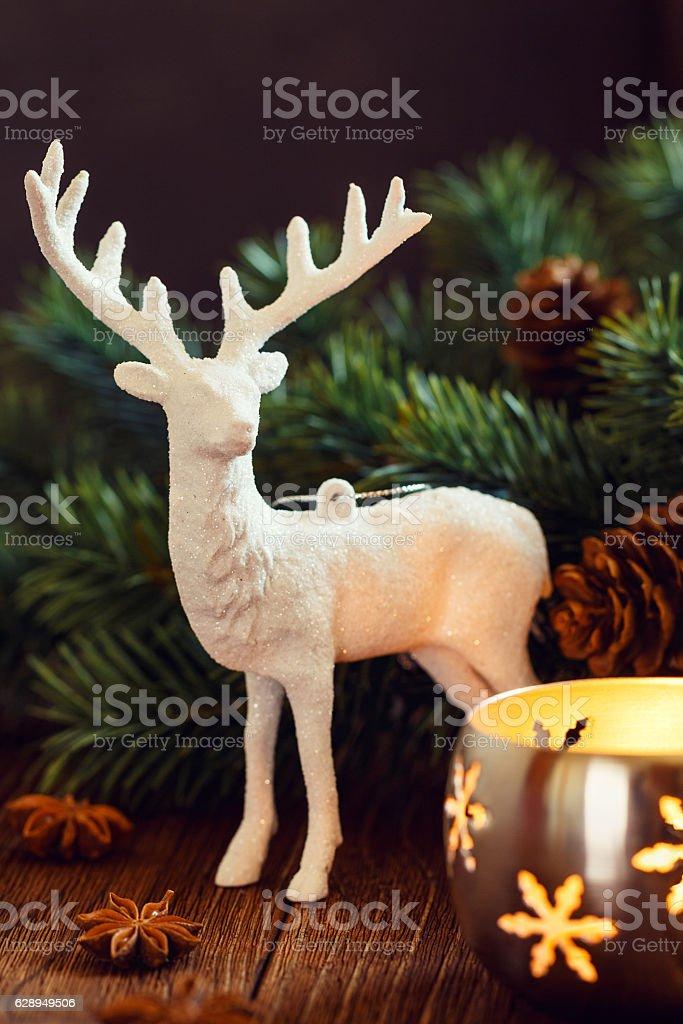 white deer christmas decoration royalty free stock photo