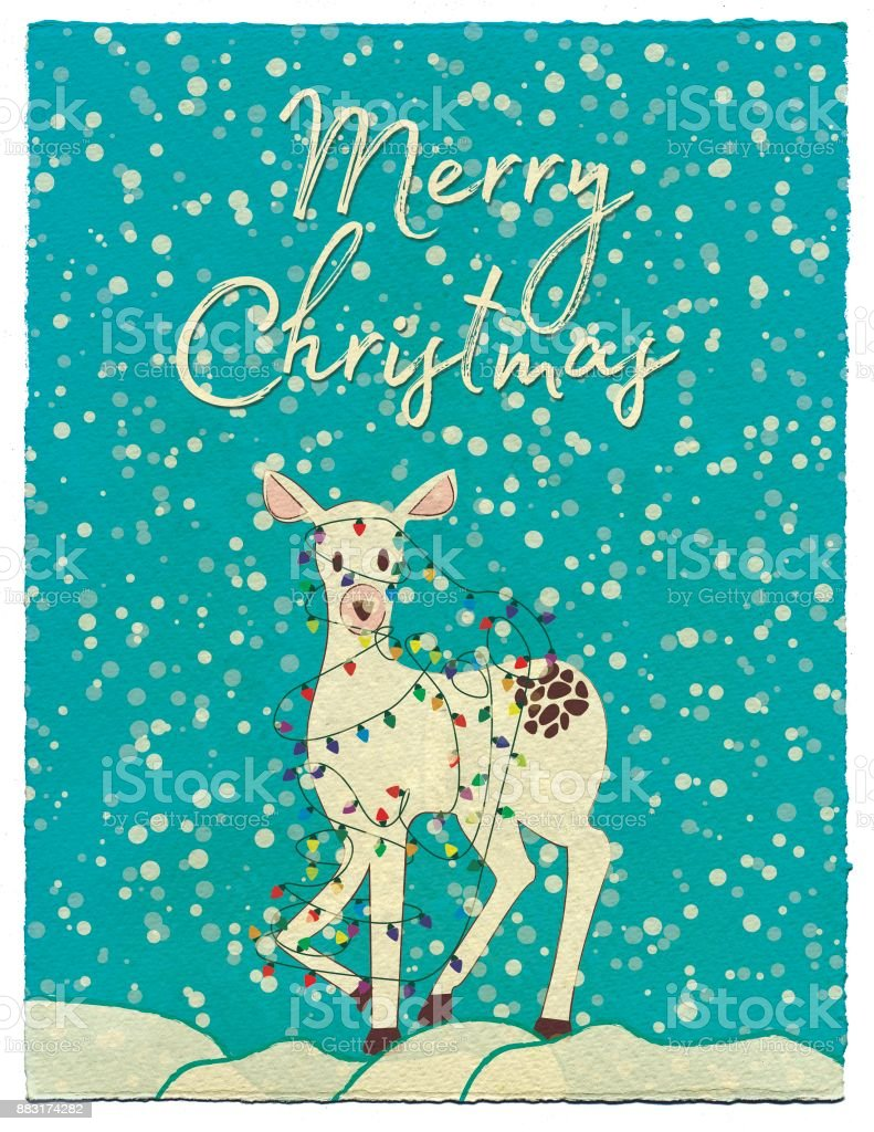 White deer with christmas lights illustration stock photo
