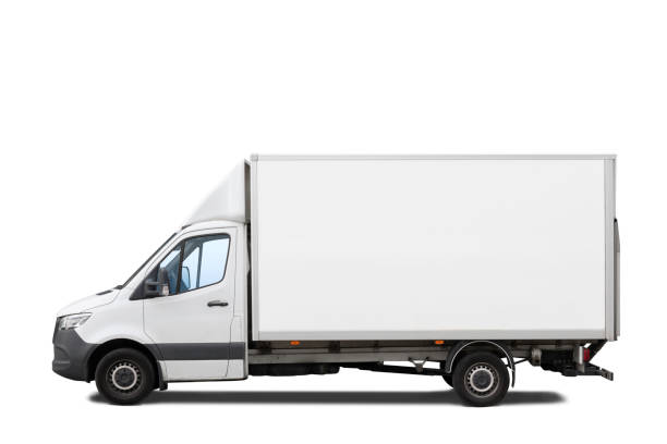 White delivery truck isolated on white stock photo