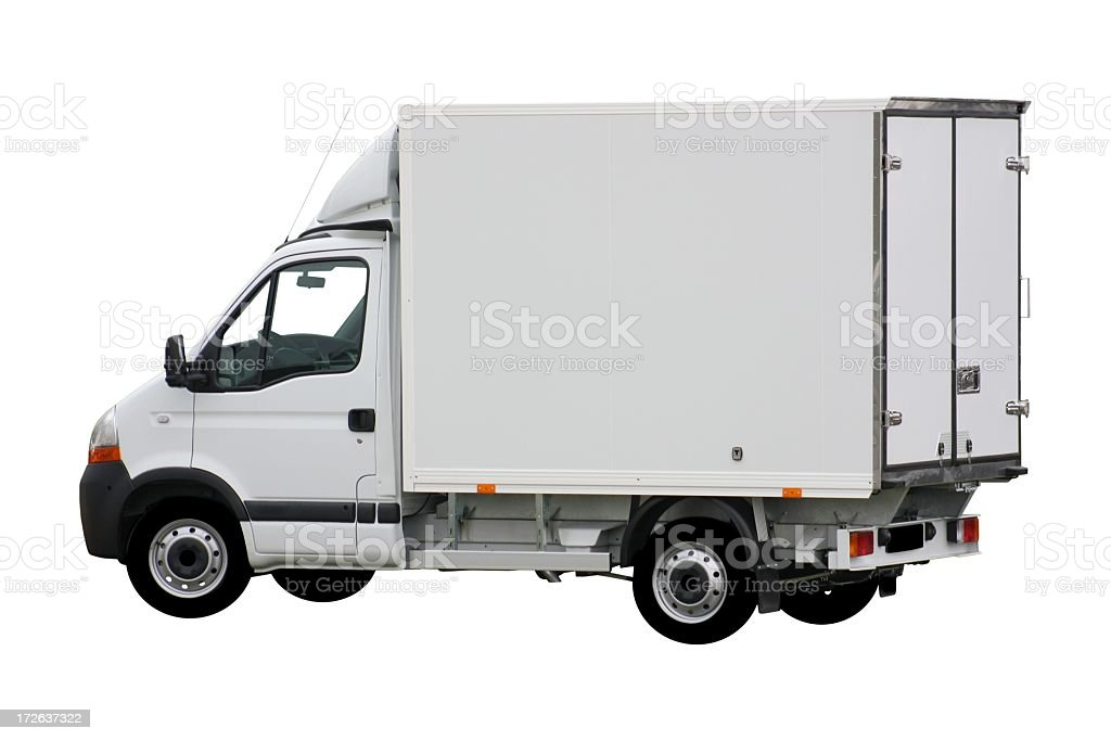 White delivery truck with box shape stock photo