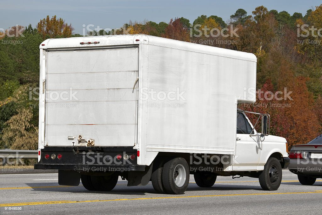 White Delivery Truck With Copy Space on Side and Back royalty-free stock photo
