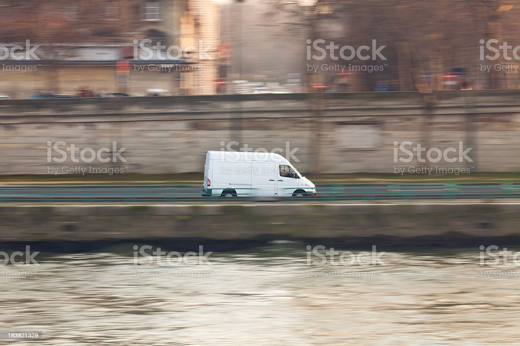 white delivery van in paris royalty-free stock photo