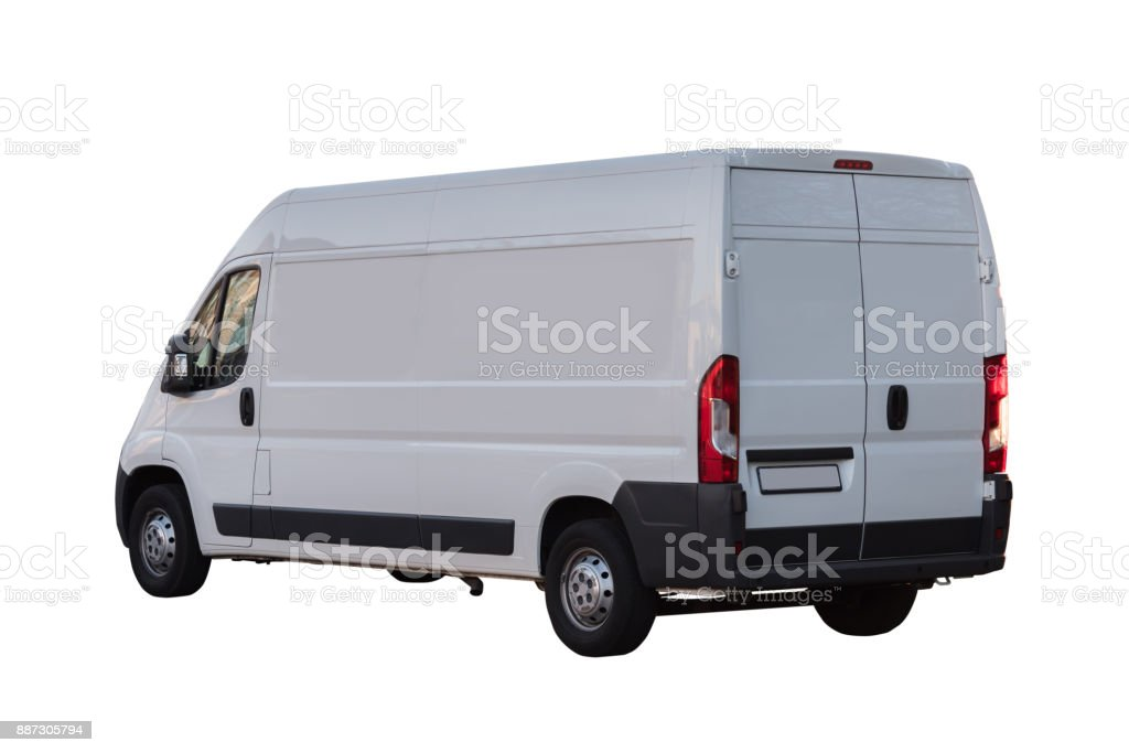 white delivery van isolated on white background stock photo