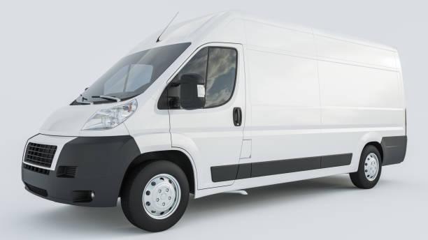 White Delivery Van auf weißem Hintergrund – Foto
