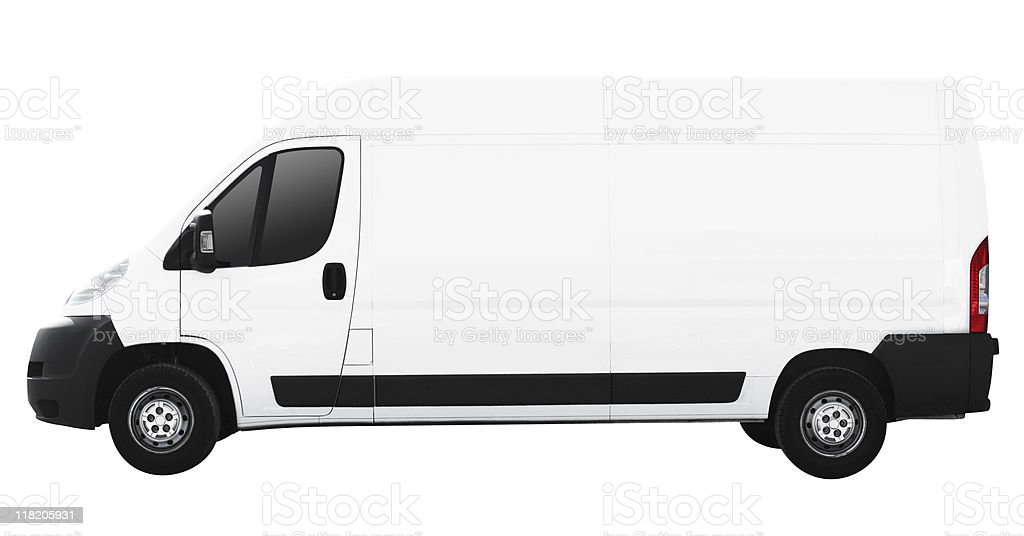 white delivery van (clipping path included) stock photo
