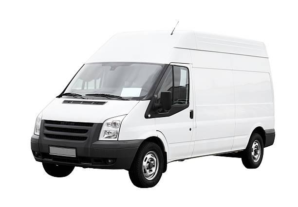 pulizia furgone di consegna bianco con lato isolato vuoto - caricare attività foto e immagini stock