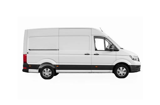 side view of white delivery van with clipping path and copy space on white background
