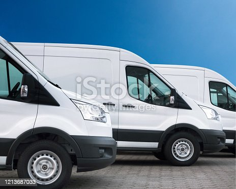 Three white delivery vans in a row - Ready For Branding