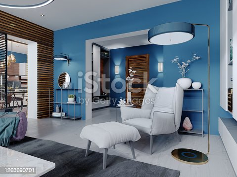 White designer chair with a footboard and a floor lamp near and a side table in a modern living room. 3D rendering.