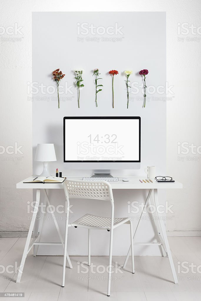 White desk with spring environment. stock photo