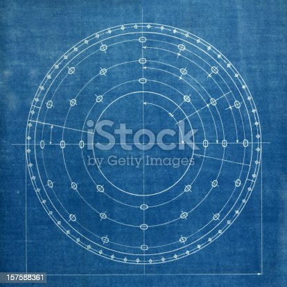 istock White detailed lines of a circular blueprint 157588361